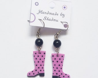 Dangle earrings, pendant earrings, polka dot, fashion statement, red, light pink, green, unique gift, fun and fashionable, gift for her