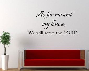 Vinyl Wall Decal As for Me and My House Vinyl Letters Joshua 24:15 KJV Bible Decal Inspirational Quote Christian Decal Living Room Bedroom