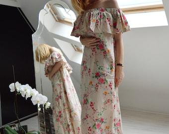 Oversize Caftan/ Boho Floral Dress/ Maxi Off-Shoulders Kaftan/ Loose Caftan/ Beach Dress/ Casual Dress/ Elegant Kaftan/ Summer Fashion