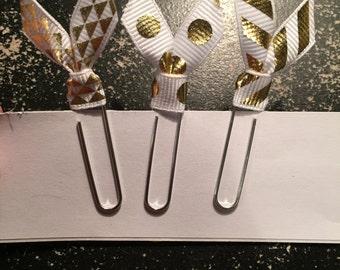 3 Gold Ribbon Paperclip Bookmarks