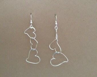 Sterling long dangle heart earrings