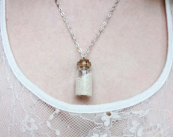 Silver Sand in a Bottle Charm Necklace