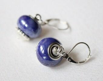 Blueish-Purple Speckled Bead Drop Earrings