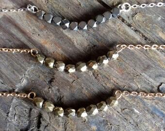 Pyrite Necklace - Pyrite Bead Necklace - Pyrite Jewelry - Gold Pyrite Necklace - Silver Pyrite Necklace