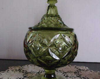 Fostoria HFM Green Glass Pedestal Candy Dish with Lid
