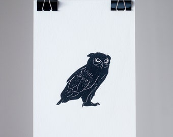 Black&white print of an owl 20x30 cm /free shipping/