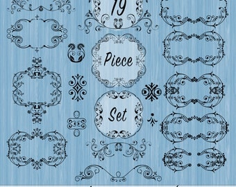 Clipart Frames Flourishes and Ornaments, Commercial Use, Frame clipart, Digital frames, Vintage frames, Flourish frames, Fancy Swirly Frames