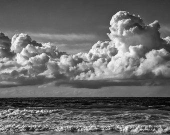 A dramatic black and white Fine art photographic Giclée print of a Cornish Seascape.  Porthmeor Sea and Sky Trilogy 2.