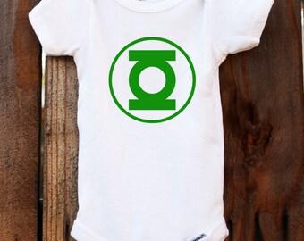 Green Lantern Onesie Justice League Baby Customizable Colors Vinyl