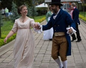 Regency Jane Austen Dress Empire Cotton Crossover Front Gown