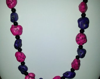 Pink and Purple turquoise necklace with toggle clasp