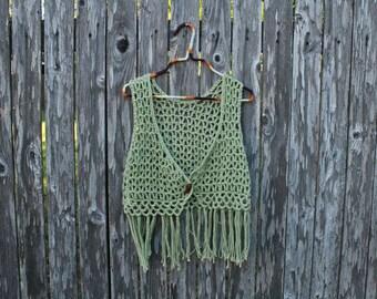 Handmade Pastel Sage Green Crochet Fringe Vest