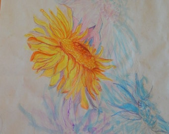 Sunflowers Watercolor and Colored Pencil Painting 13.5 x 11.5