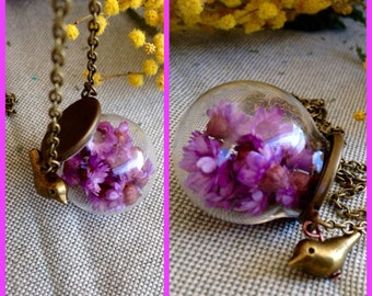 Medium long necklace with glass Bubble and liverworts