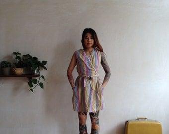 cotton candy colored striped 70s boho hippie wrap dress belt s/m