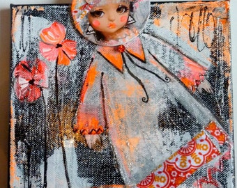 Original painting art doll-portrait canvas-doll -acrylic-mixed media