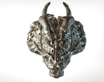Majestic Supreme Asian Dragon Head Sterling Silver Ring