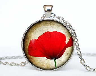 Poppy necklace Poppy pendant red Poppy jewelry