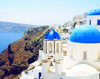 Landscape Photography, Skyline, Santorini Print, Santorini Wall Art, Greece Photography, Mediterranean Sea, Blue, White, Travel Photography