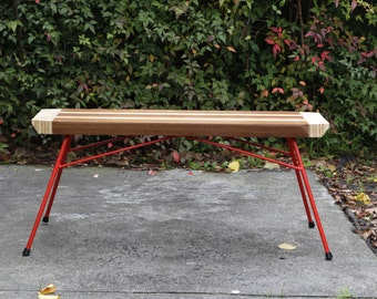 Reclaimed timber and plywood bench, recycled timber and steel bench or coffee table
