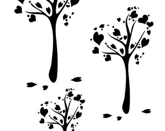 "5.8/8.3"" Heart tree stencil (3 Tree's).  A5."