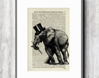 dancing elephant vintage art print art print poster retro collage illustration book page