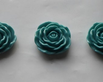 3 x Huge Flat Back Resin Teal Rose Flower Focal Beads 45mm- Crafts/Jewellery/Knitting