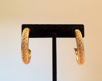 Vintage Gold Hoop Earrings - Gold Tone Jewelry - Large Post Hoops - 1980s Costume Jewelry