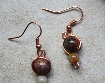 93 Leopard jasper wire wrapped dangle earrings