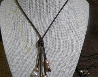 Quadruplet Natural Pink & Earth tone Freshwater Pearl Necklace