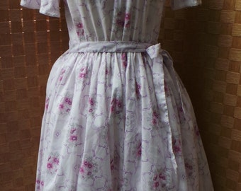 White Floral 50s Style Dress