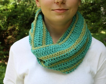 Blue and Green Crochet Cowl/Infinity Scarf