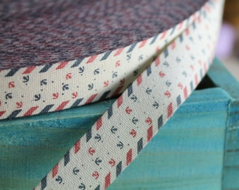 """2 Meters of 1.5 cm (~ 0.6"""") Wide Zakka Cotton Ribbon/Sewing Tape/ Cotton Label with """"Sea Anchor"""" Print"""