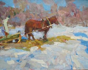SALE 50%! Fine Art Vintage, Winter Rural Landscape, Original Oil Painting, 1970s, Handmade Artwork, Countryside scenes