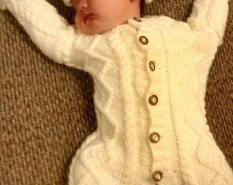 Cable knit newborn all-in-one and hat