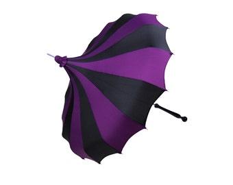 Purple & Black Bella Umbrella Pagoda Umbrella - Rain or Shine Parasol