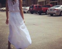 Mullet skirts-Washed/ Textured/ gauze/cotton/white/High-low skirt