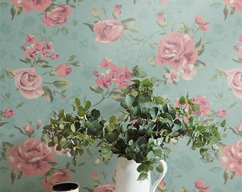 Removable Wallpaper, Temporary Wall Decal, Pink Garden Rose Self-Adhesive Wallpaper, 007