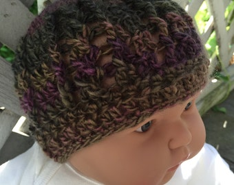 Baby Earthy cable crochet beanie (3-6m*)