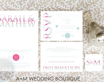 Wedding Invitation set, Classic Wedding Invitation, Printable Invitations, Modern invitation set, : KATE