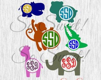 Jungle Animals SVG / DXF Monogram Frames Safari Animals Hippo Monkey Giraffe Elephant Alligator Kids Baby Svg Dxf Silhouette Cut File