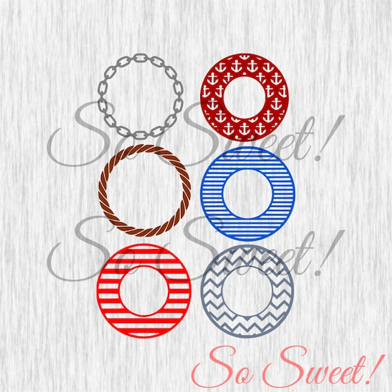 Nautical Monogram SVG / DXF Frames Rope Anchors Chain