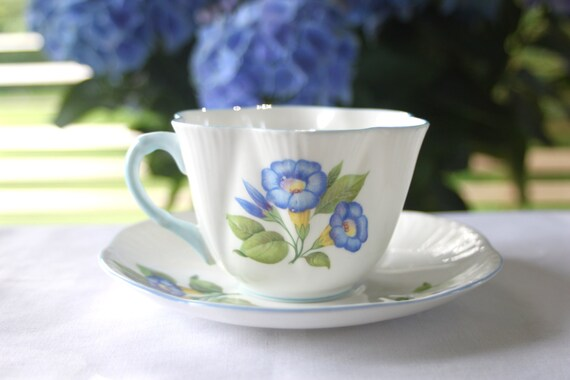 """Shelley Dainty """"Morning Glory"""" Tea Cup and Saucer: 1940's Vinta..."""