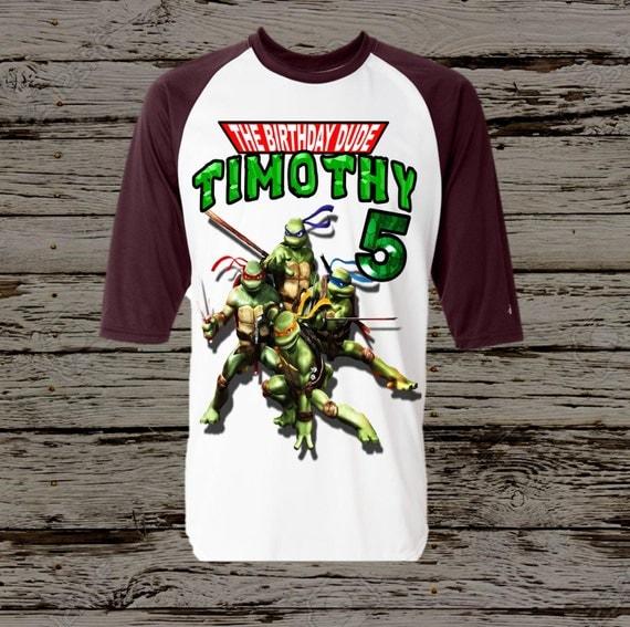 Ninja turtles birthday shirt black raglan by for Where can i buy ninja turtle shirts