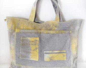 Naturally Hand Dyed Beach Bag / Shopping Tote Bag / Market Bag / Eco Dyed / Yellow Grey / Eco Friendly Bag