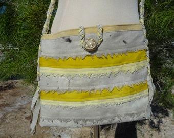 Boho Hippie Style Cross Shoulder Bag - Handmade Bag - Eco Dyed Bag - Naturally Hand Dyed Bag - Festival Bag - One of a Kind Bag