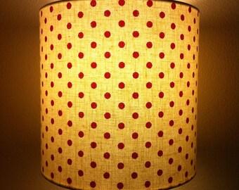 lampshade - red polka dots screen-printed locally