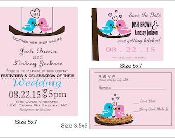Love Birds Wedding Invatation Printable, Wedding Suite, RSVP, Save the Date, Customizeable, Creative Invite