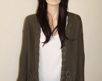 Hand knitted Olive Green Cable Knit and Lace Cardigan