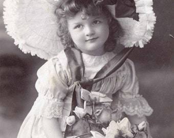 Little Girl with Big Hat and Roses Postcard Vintage Antique
